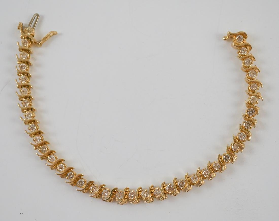 14K Gold and Diamond Tennis Bracelet - 5