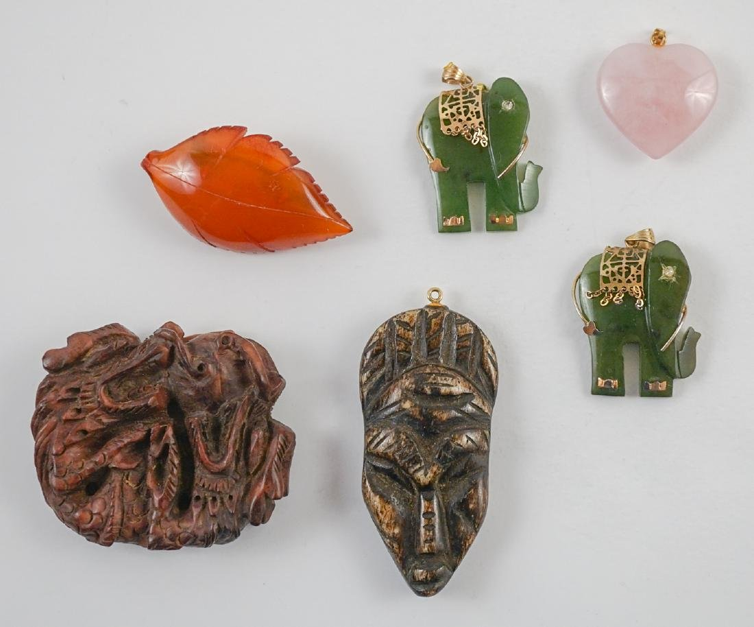 Ethnic Carved Jade, Amber, Stone and Wood Items