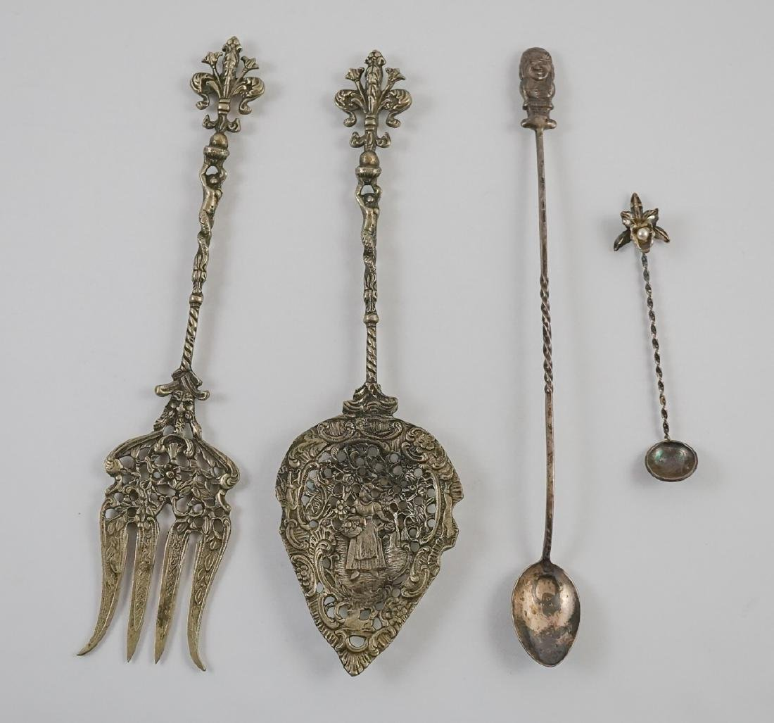 Ornate Silver Plate Spoons and Fork