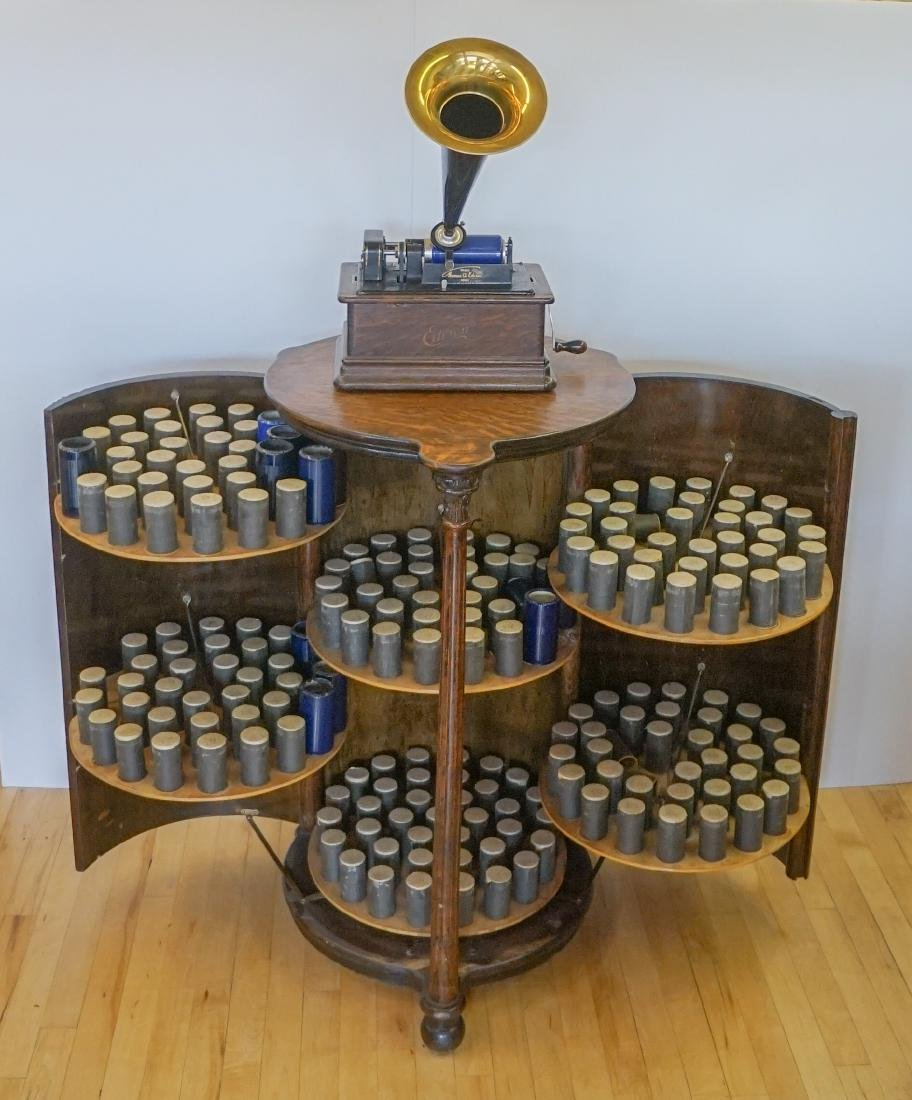 Oak Herzog Full Barrel Cylinder Record Cabinet
