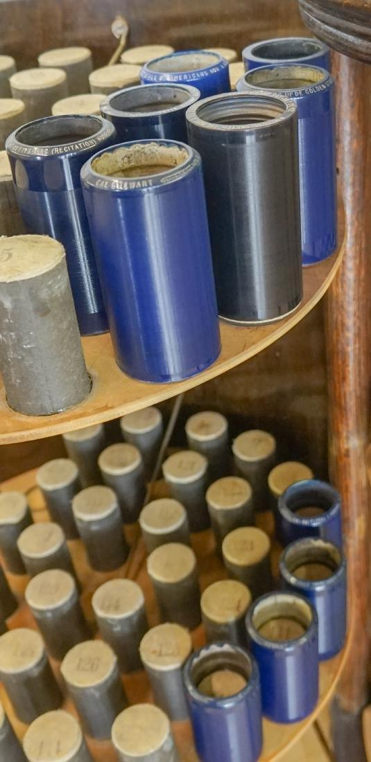 Oak Herzog Full Barrel Cylinder Record Cabinet - 7