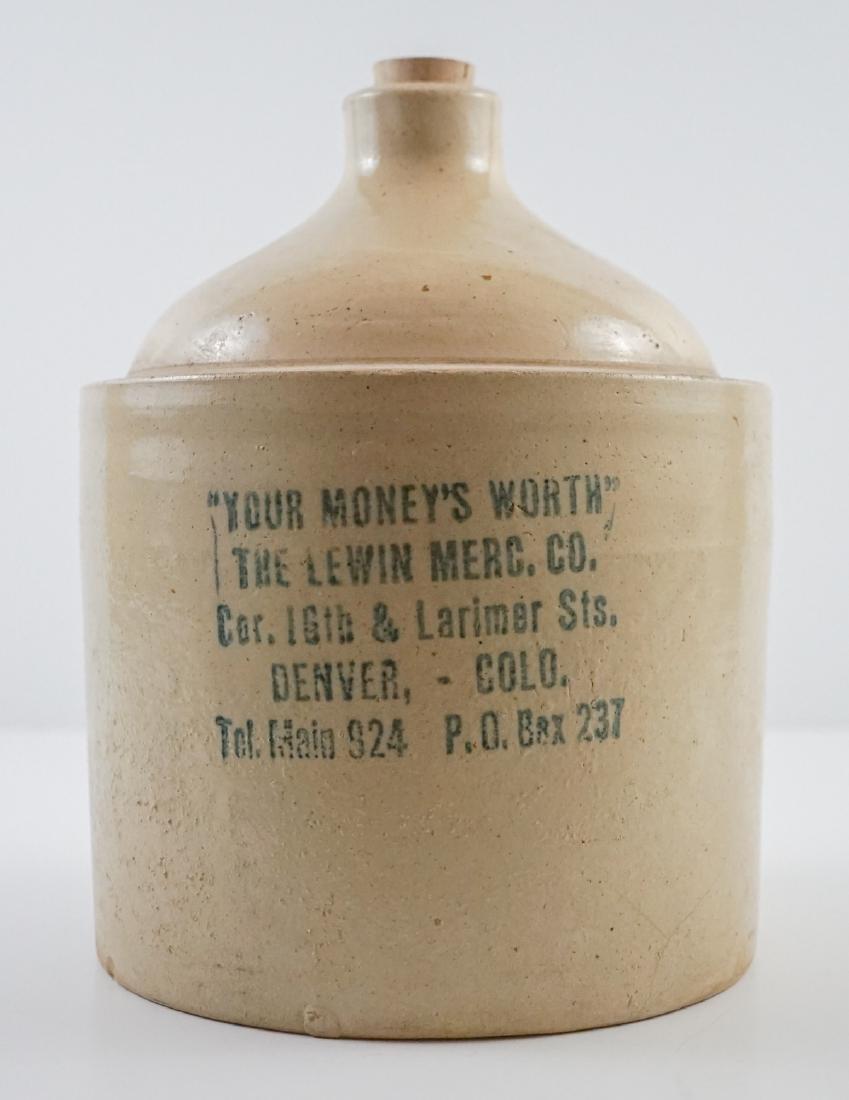 The Lewin Merc. Co., Denver, Co. Advertising Jug