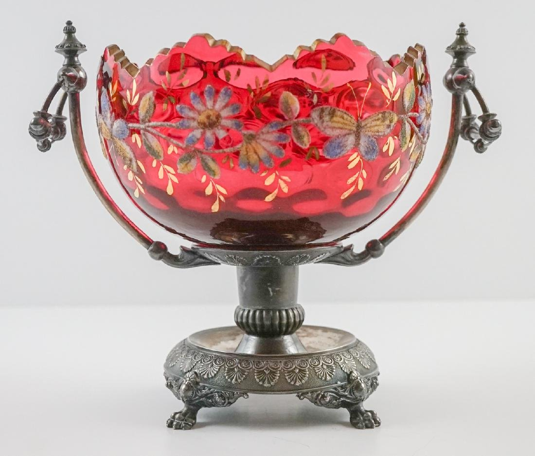 Wilcox Silver Plate & Cranberry Glass Centerpiece