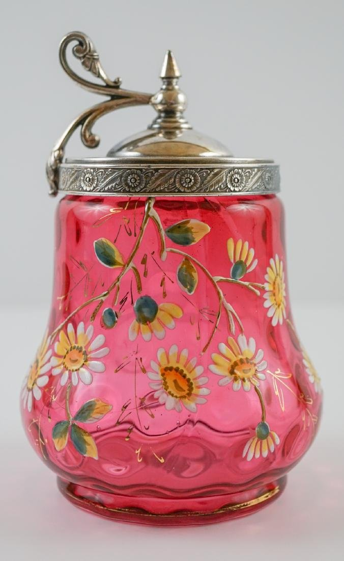 Victorian Cranberry and Enamel Castor