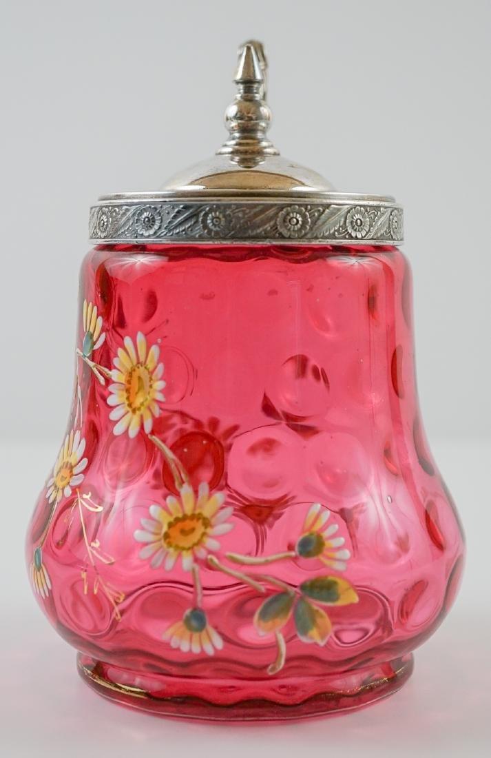 Victorian Cranberry and Enamel Castor - 2
