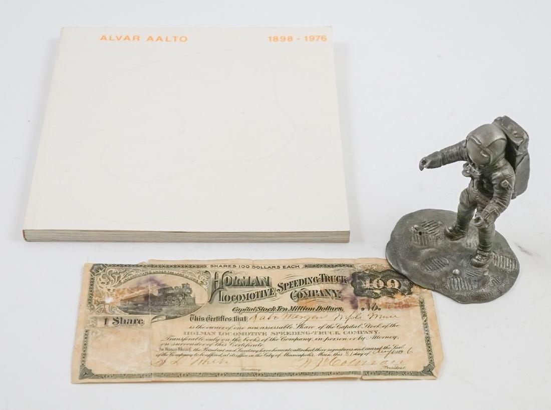 Alvar Aalto Signed Book, Holman Stock Certificate