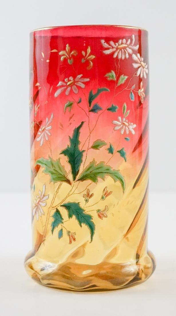 Decorated Amberina Swirl Vase