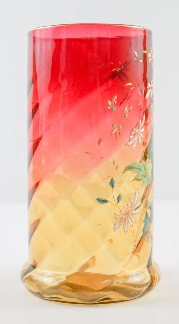 Decorated Amberina Swirl Vase - 2