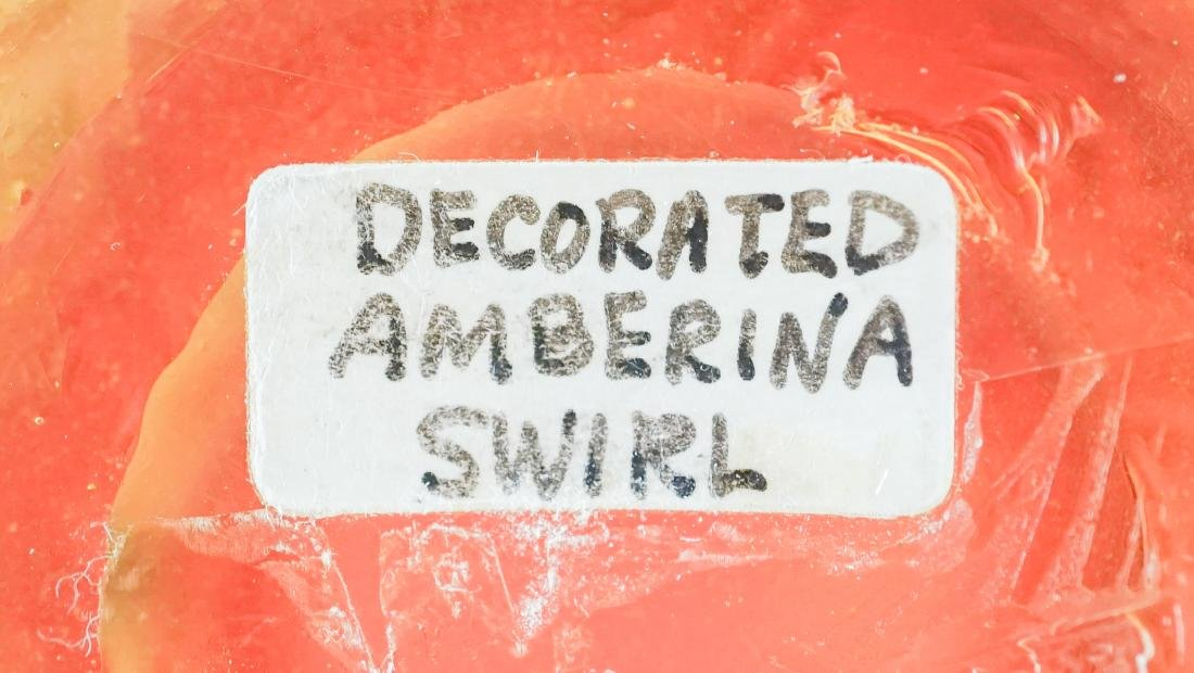 Decorated Amberina Swirl Vase - 8