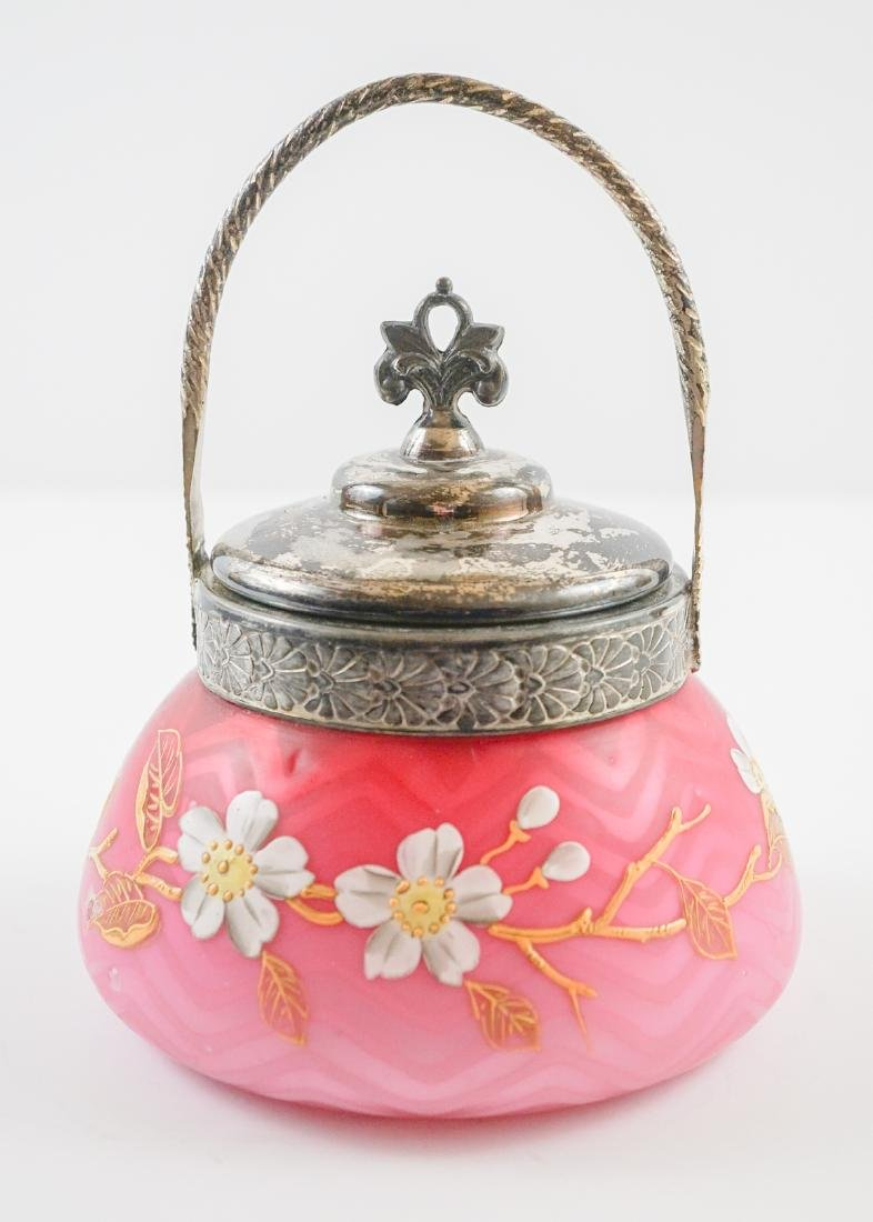 Victorian Satin Glass and Enamel Covered Jar