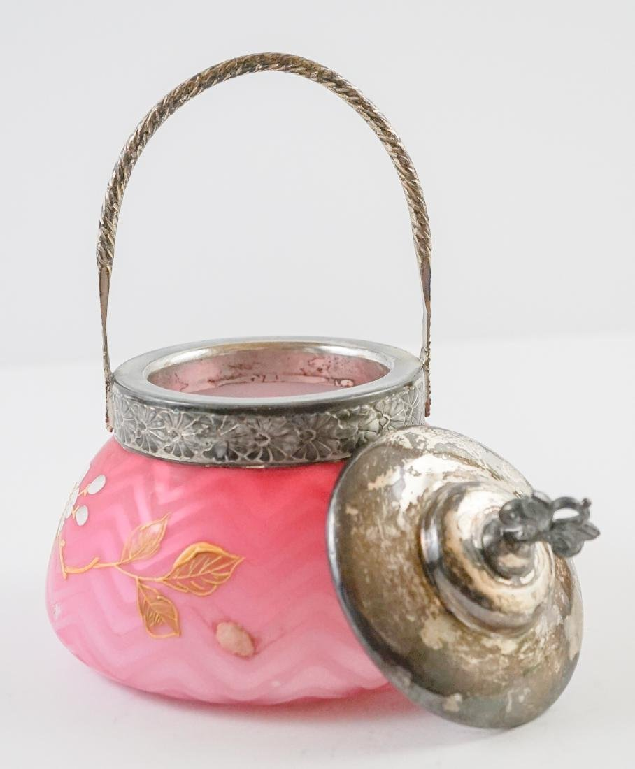 Victorian Satin Glass and Enamel Covered Jar - 5