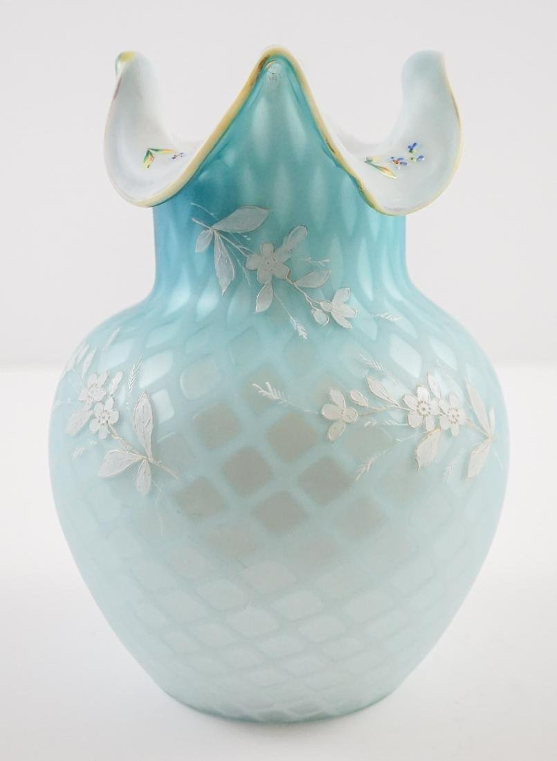 Victorian Blue Diamond Quilted Vase with Enamel