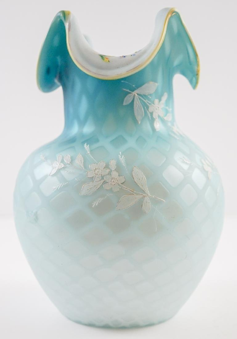 Victorian Blue Diamond Quilted Vase with Enamel - 2
