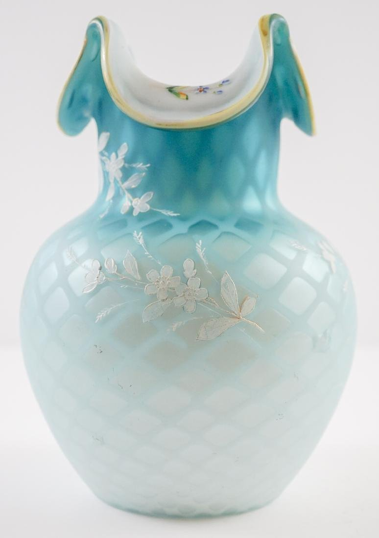 Victorian Blue Diamond Quilted Vase with Enamel - 3