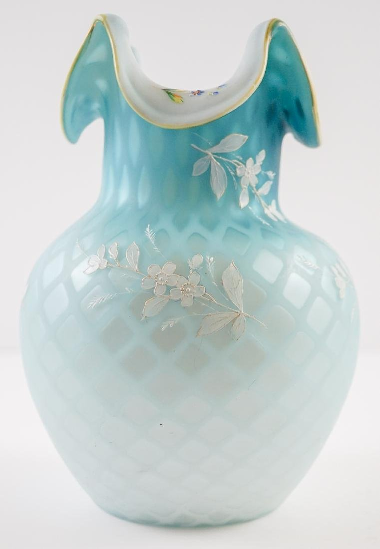 Victorian Blue Diamond Quilted Vase with Enamel - 4