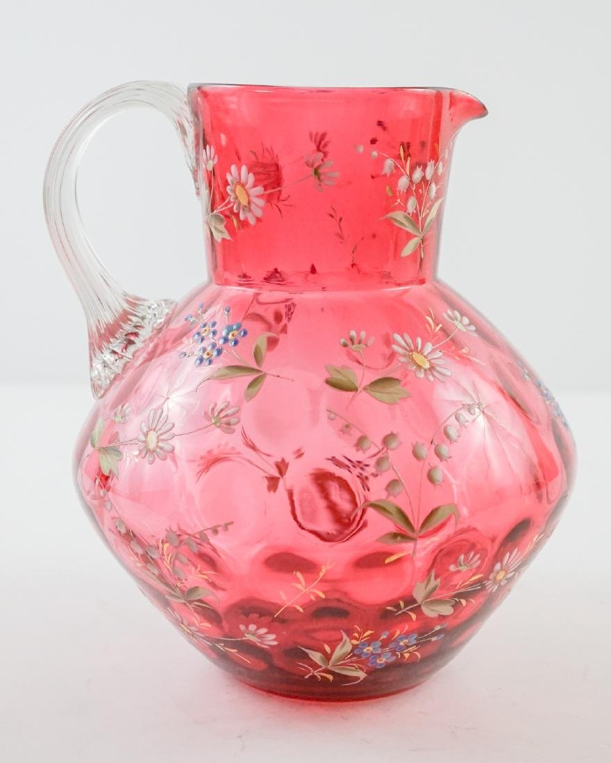 Cranberry and Enamel Spot-Optic Pitcher