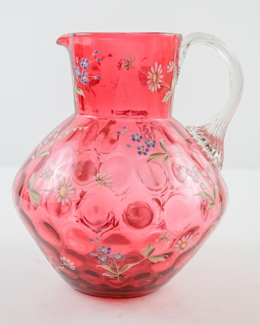 Cranberry and Enamel Spot-Optic Pitcher - 3