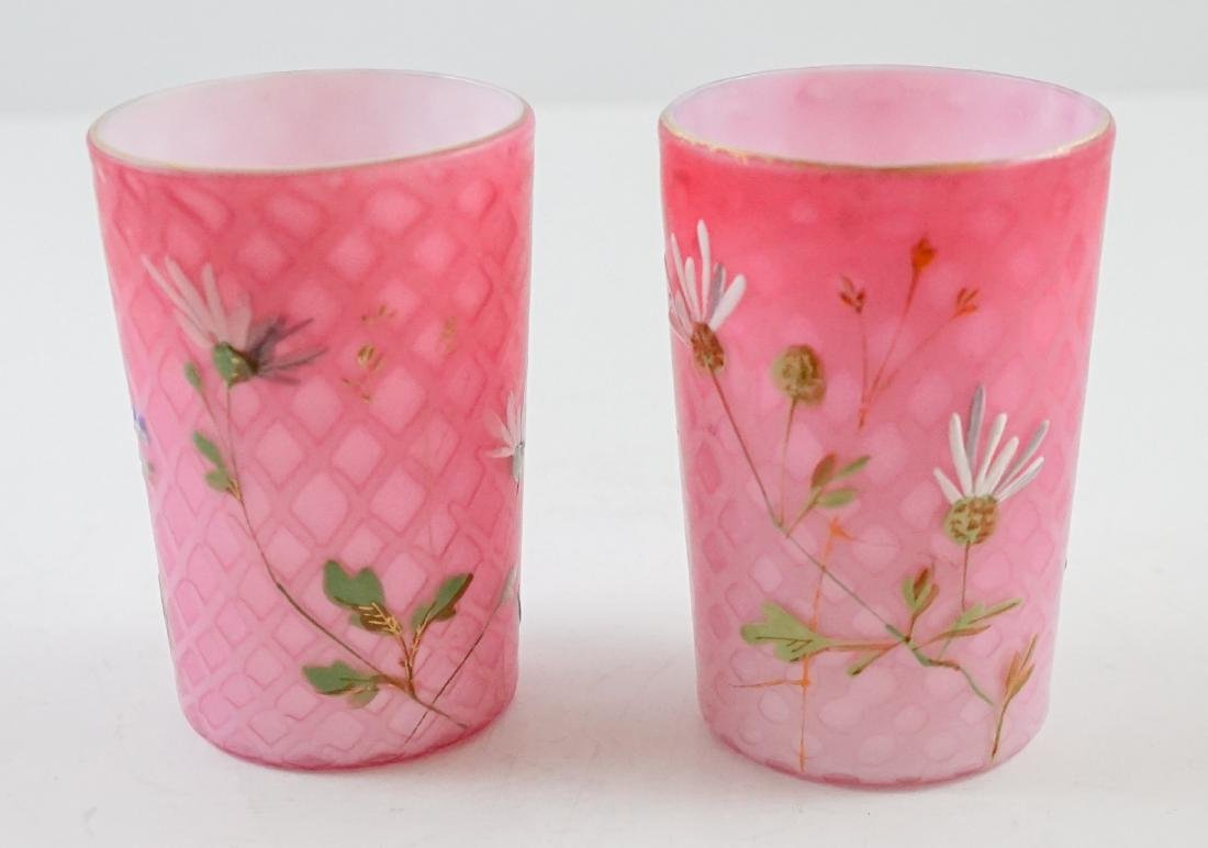 Pair of Victorian Quilted Satin Glass Tumblers