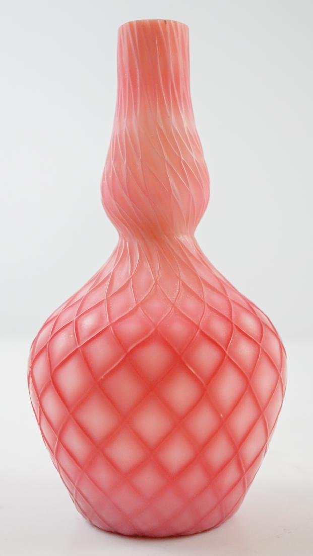 Victorian Satin Glass Quilted Bud Vase - 2