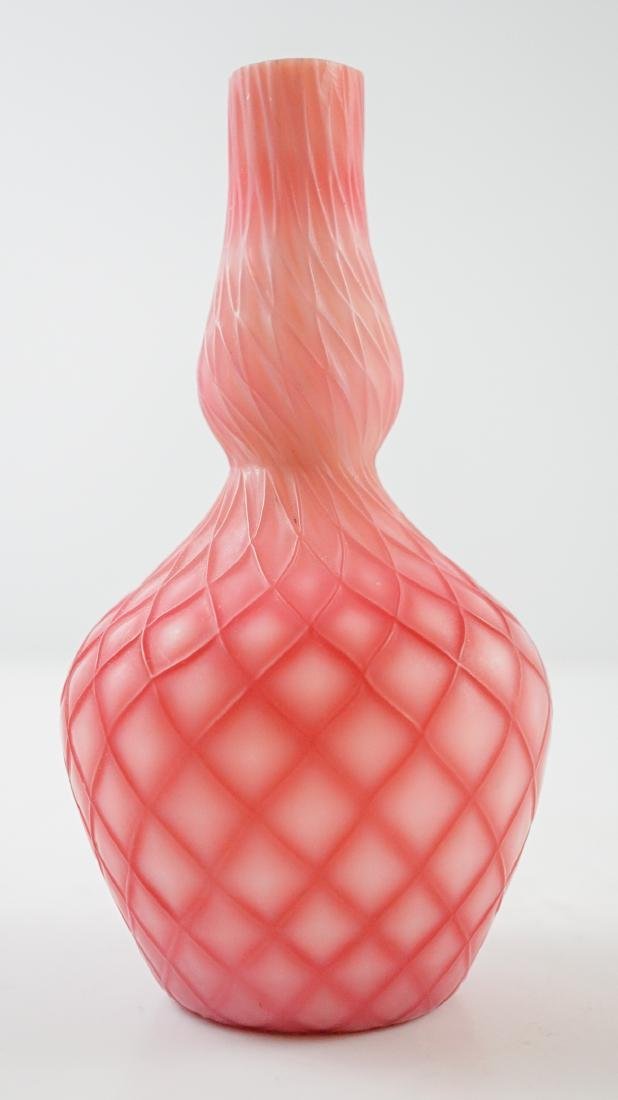 Victorian Satin Glass Quilted Bud Vase - 3