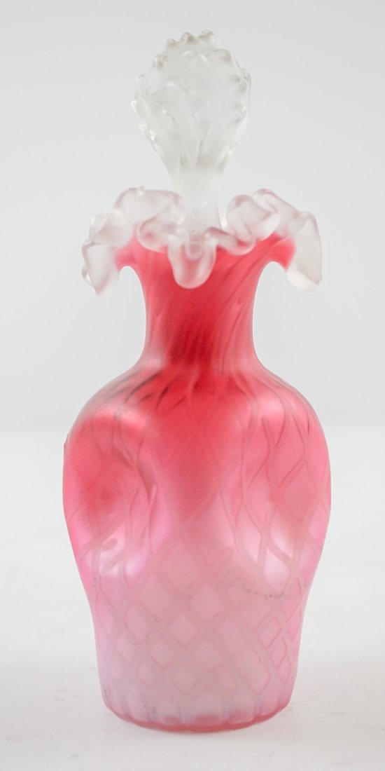 Victorian Pink Glass Diamond Pattern Perfume