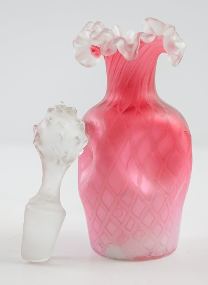 Victorian Pink Glass Diamond Pattern Perfume - 7