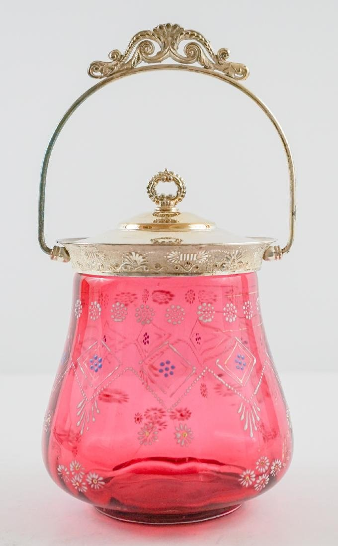Cranberry and Enamel Biscuit Jar