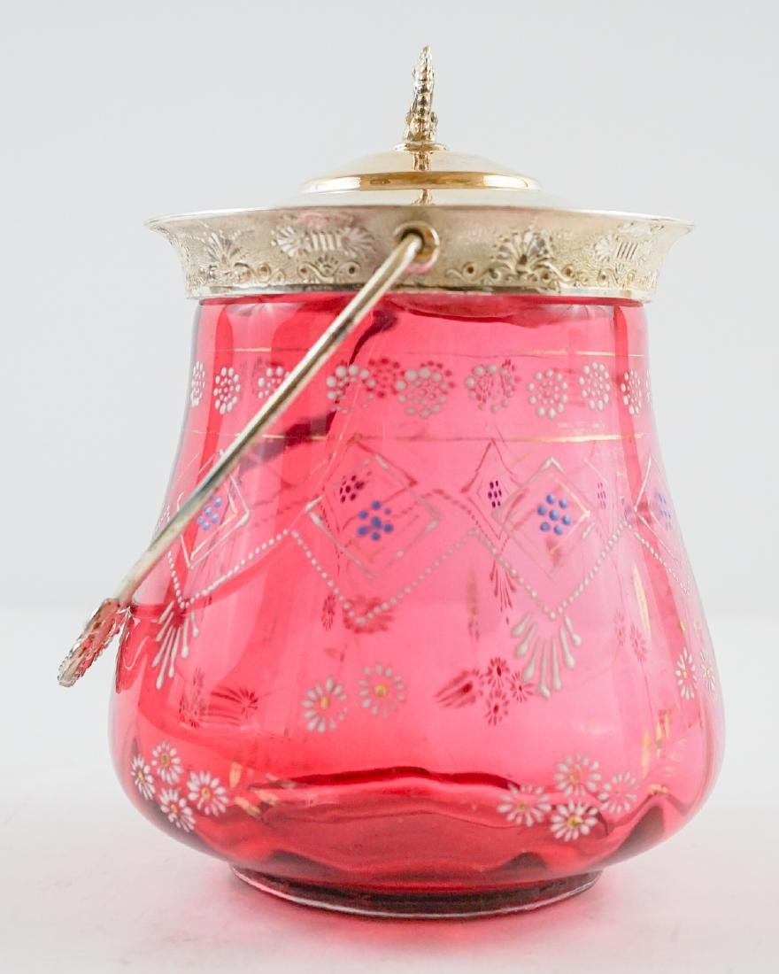 Cranberry and Enamel Biscuit Jar - 4