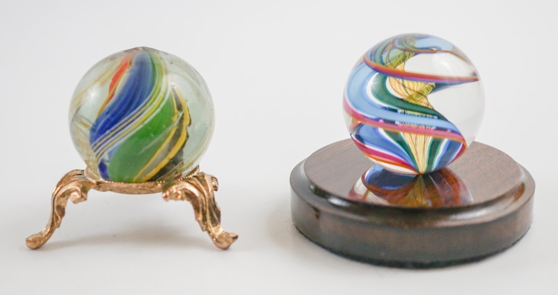 Two Large Handmade Glass Marbles