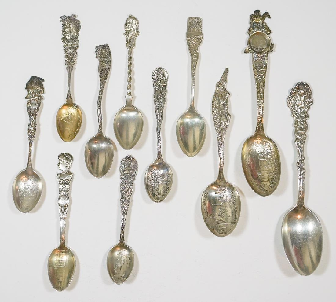 Group of Ornate Sterling Silver Souvenir Spoons