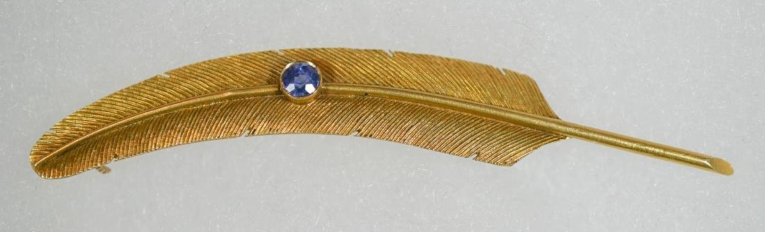 WAB Wordley, Allsop and Bliss 14k Feather Pin