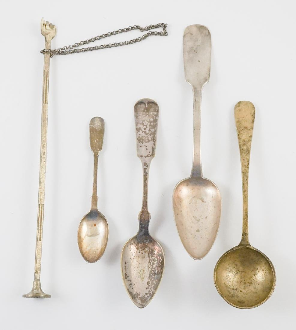 Antique Spoons, One German Coin Silver