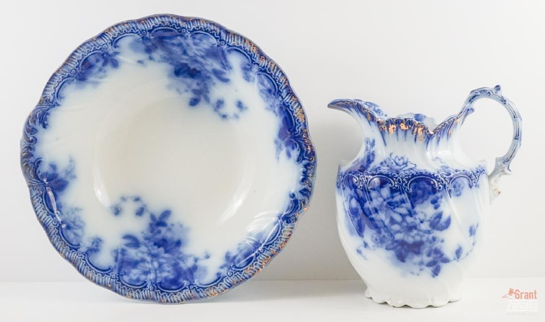 Sandringham Flow Blue Pitcher and Bowl
