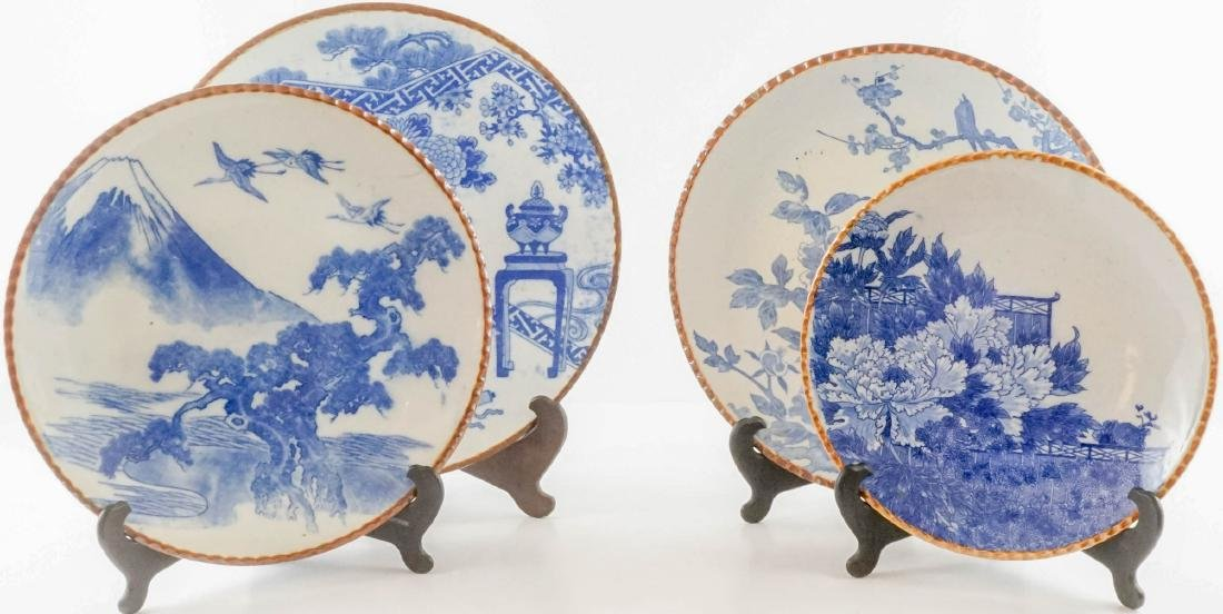 Four Japanese Blue and White Platters