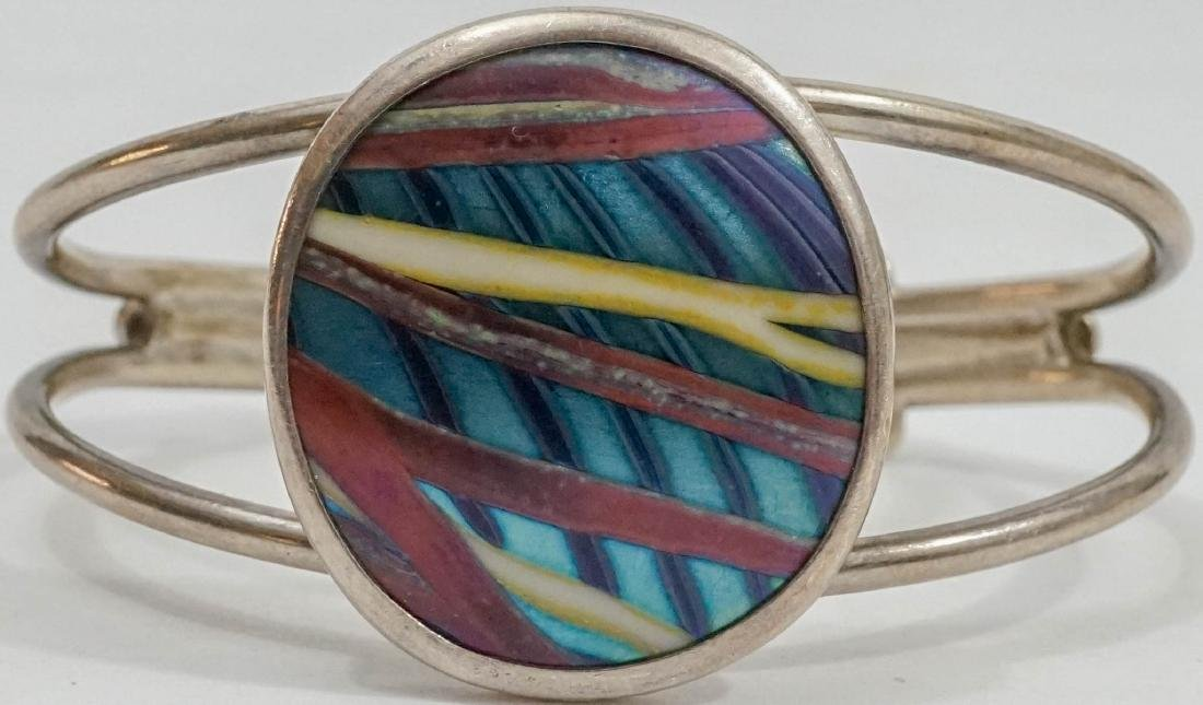 Orient & Flume Art Glass and Sterling Bracelet