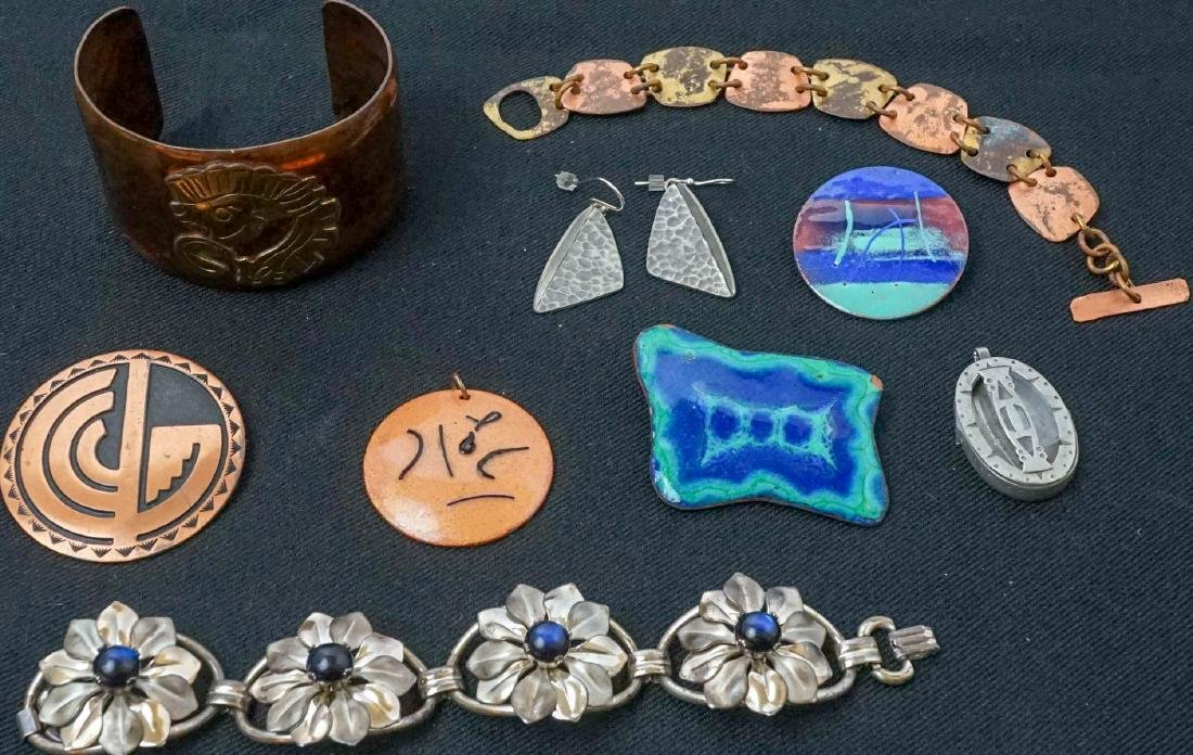A Group of Mid-Century Copper & Enamel Jewelry