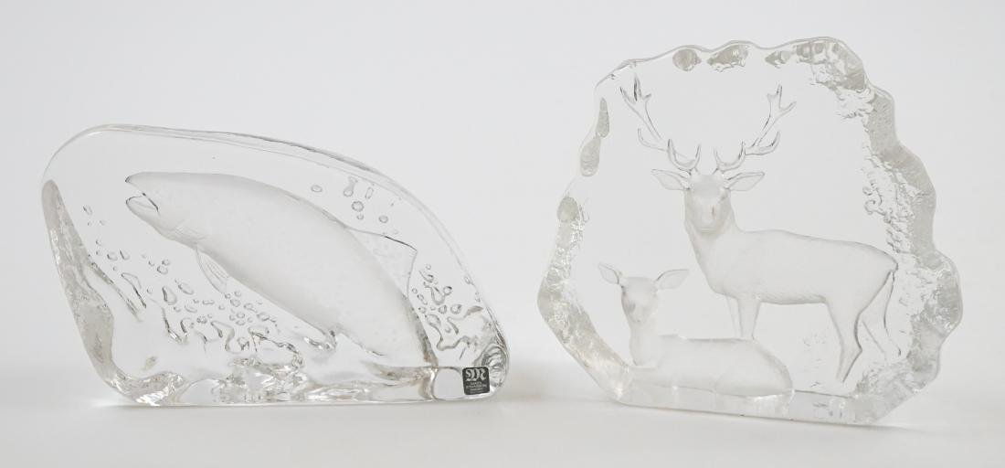 [2] Pieces Mats Jonasson Crystal Sculpture