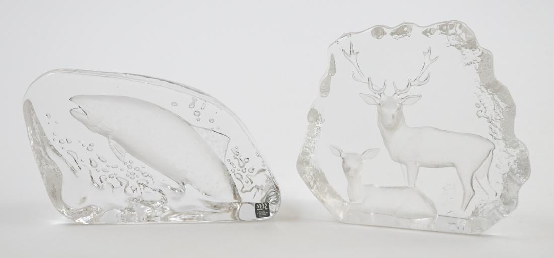 [2] Pieces Mats Jonasson Crystal Sculpture