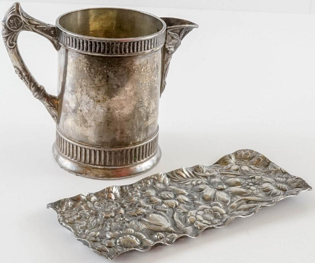 Group of Antique Metalware with Repousse Tray - 5