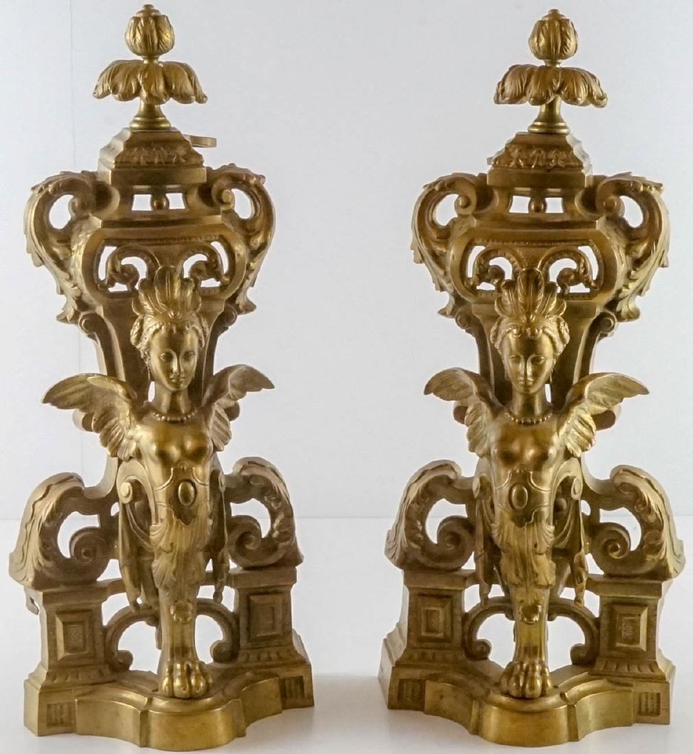 Exceptional Pair of Gilt Firedogs