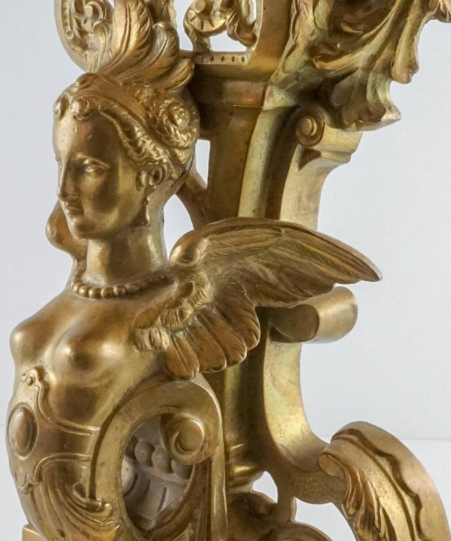 Exceptional Pair of Gilt Firedogs - 5
