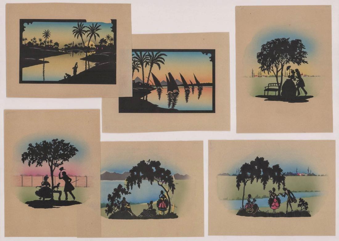 Six Antique Cut-Paper Silhouettes