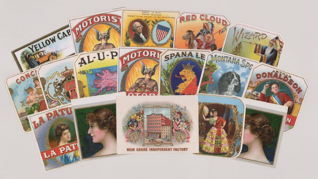 Group of Seventeen Cigar Box Labels