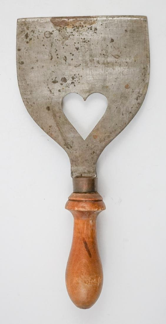 Two Antique Dough Scrapers with Heart Cut Outs - 3