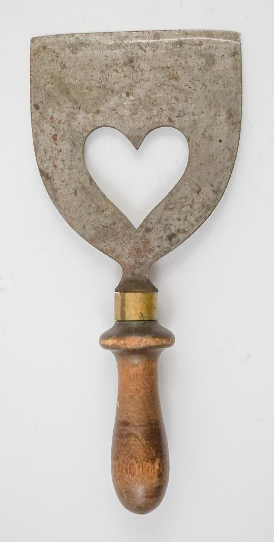 Two Antique Dough Scrapers with Heart Cut Outs - 4