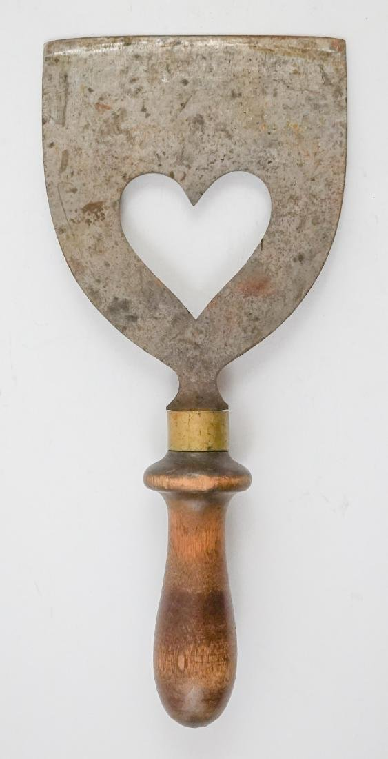 Two Antique Dough Scrapers with Heart Cut Outs - 5