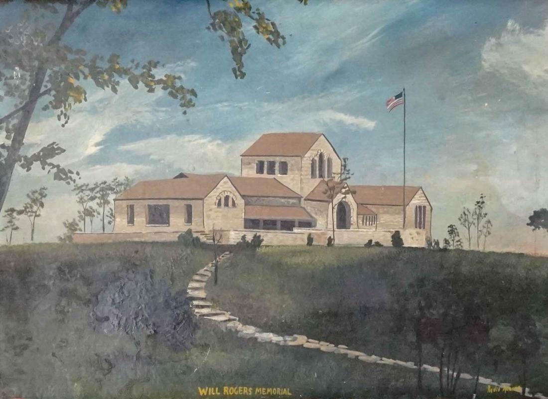 Folk Art Painting of Will Rogers Memorial