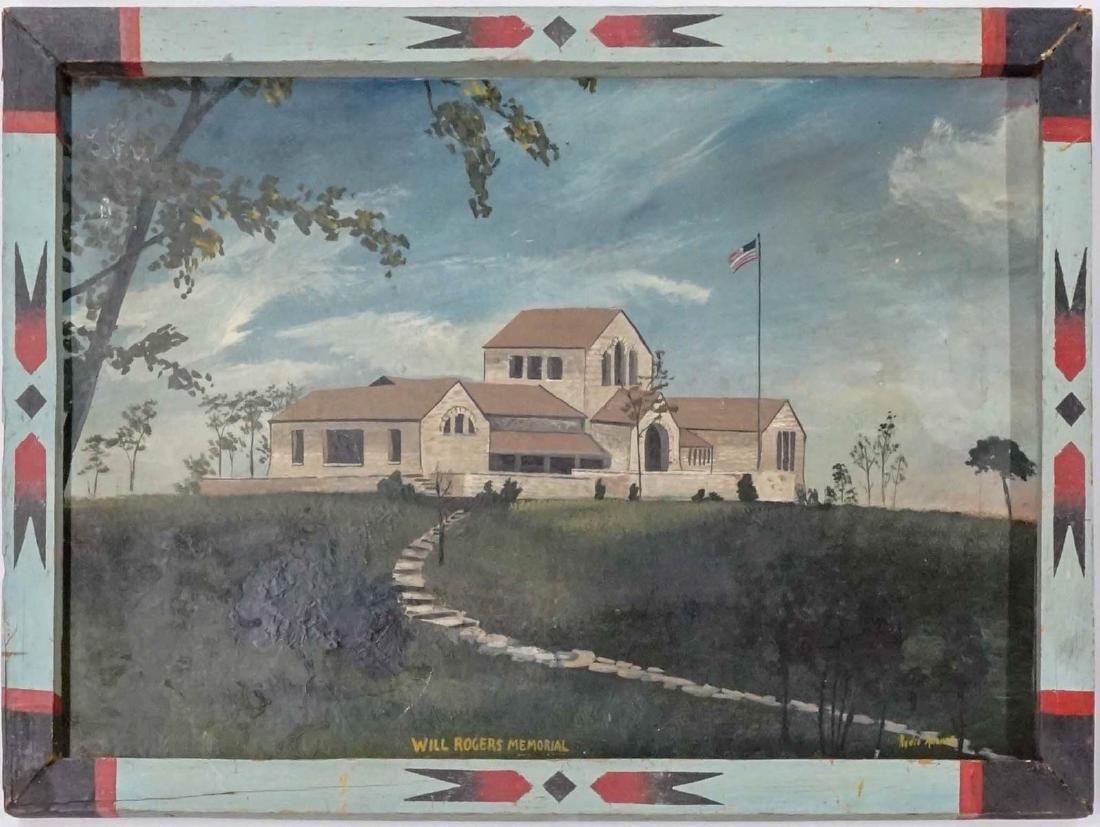 Folk Art Painting of Will Rogers Memorial - 2