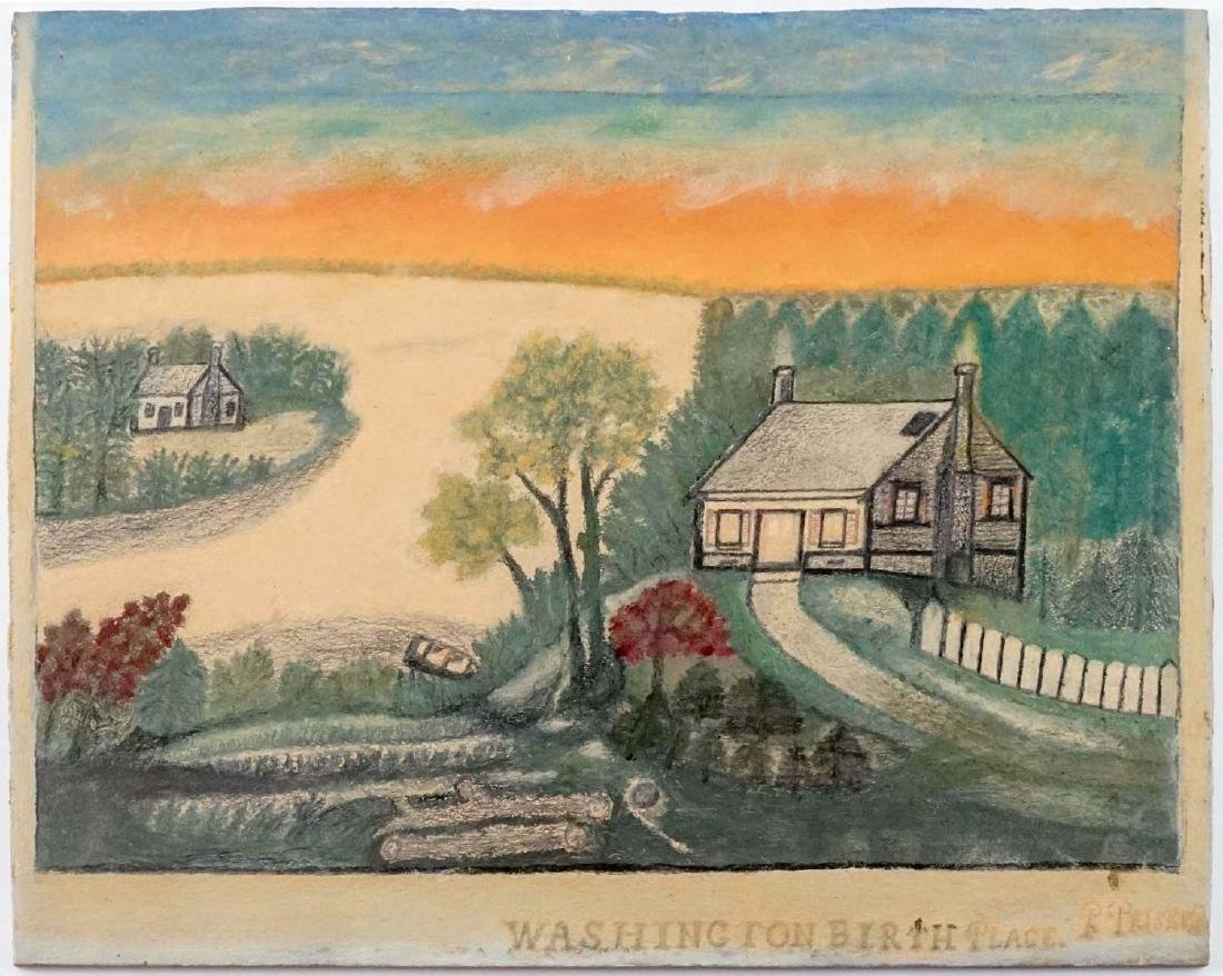 Washington's Birthplace Signed Naive Painting