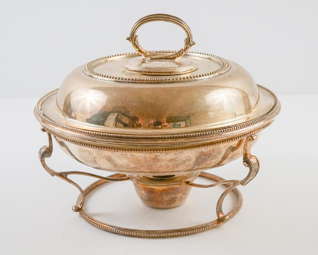 English Silver Plate Chafing Dish on Stand